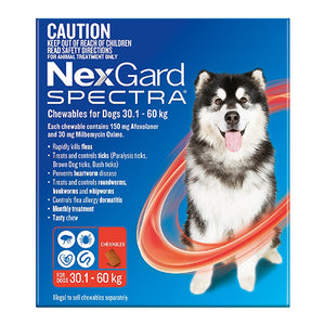 NexGard Spectra Chewables for Dogs (30.1 - 60kg) Red 6Pk