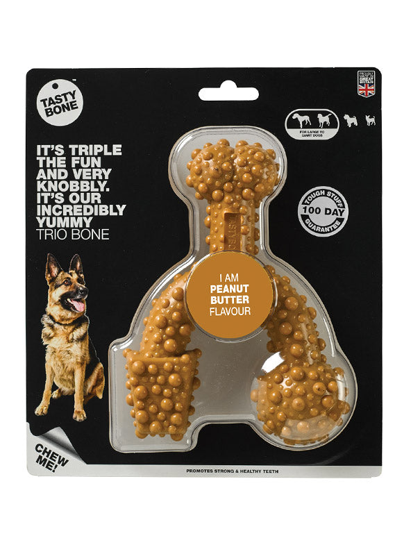 Nylon Trio Bone Toy - Peanut Butter