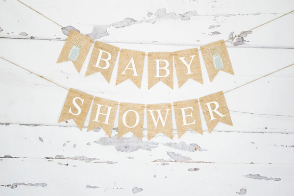 Baby Shower Decor, Floral Mason Jar Banner