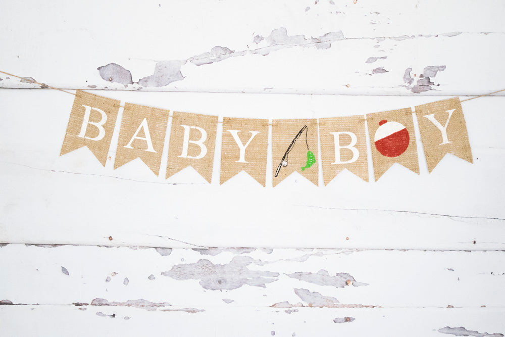 8c1cb80a5b43d Baby Boy Fishing Banner for Gender Reveal or Baby Shower Decorations ...