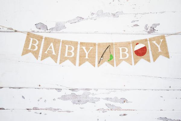 Baby Boy Fishing Banner for Gender Reveal or Baby Shower Decorations
