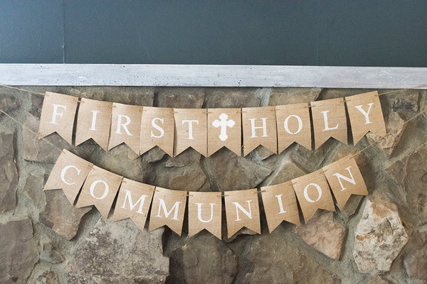 White Cross First Holy Communion Banner | Religious Party Decor