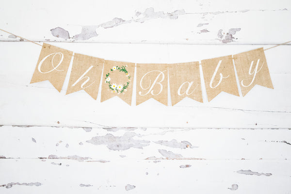 Oh Baby Floral Wreath Banner for Baby Shower Decorations