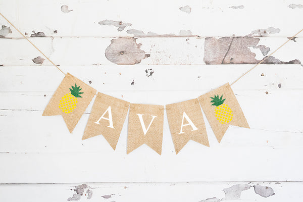 Personalized Pineapple Banner | Summer Birthday Party Decor