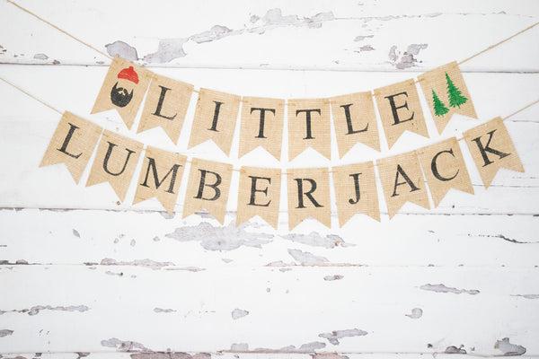 Lumberjack Baby Shower Decor, Little Lumberjack Banner