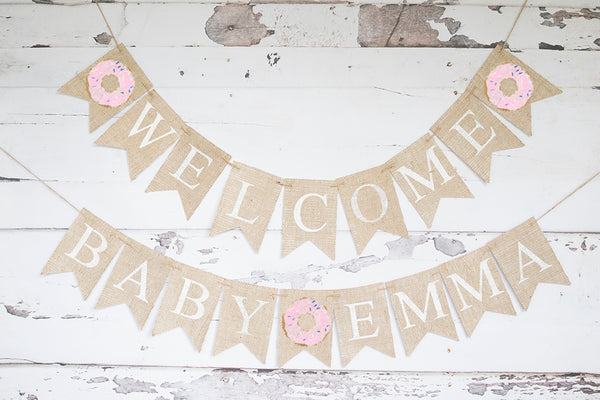 Donut Welcome Baby Personalized Banner | Baby Shower or Gender Reveal Party Decor