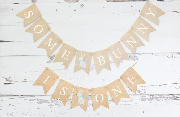 Blue Some Bunny Is One Banner | Easter First Birthday Party Decor
