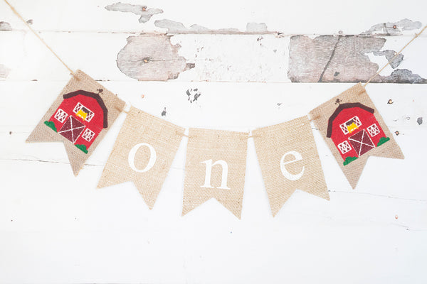 Barn One Banner | Farm First Birthday Party Decor