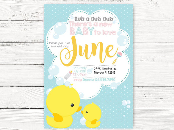 Digital Rub A Dub Baby Shower , Baby Shower Invite, Rubber Duckie Themed Party, Baby Shower Invitation , C132