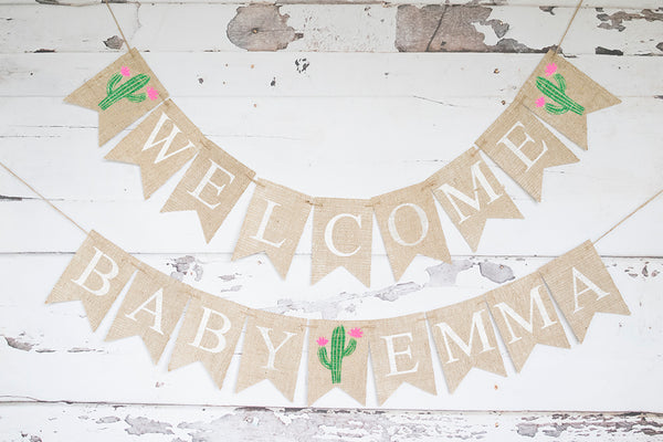 Cactus Welcome Baby Personalized Banner | Baby Shower or Gender Reveal Party Decor