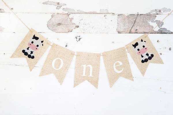 Baby Cow One Banner for Farm First Birthday Party Decoration