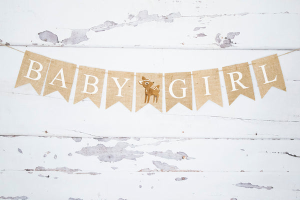 Baby Girl Deer Banner | Baby Shower or Gender Reveal Decorations