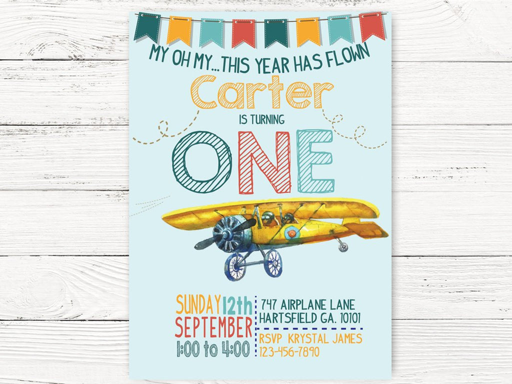 Vintage Airplane First Birthday Invite Adventure Begins Party Pilot Themed
