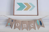 Feathers & Arrows One Banner | Tribal First Birthday Party Decor