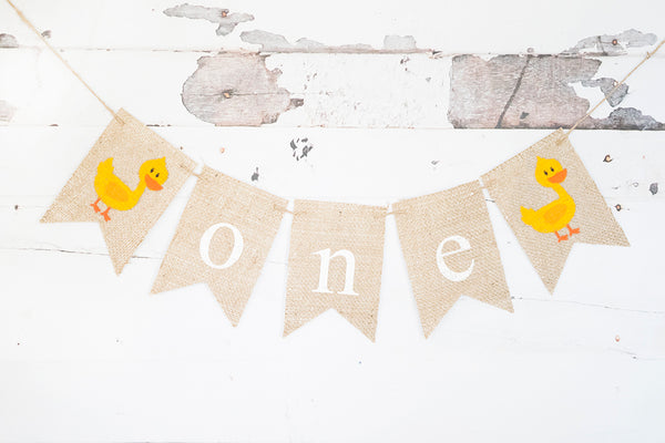 Duck One Banner | Farm First Birthday Party Decor