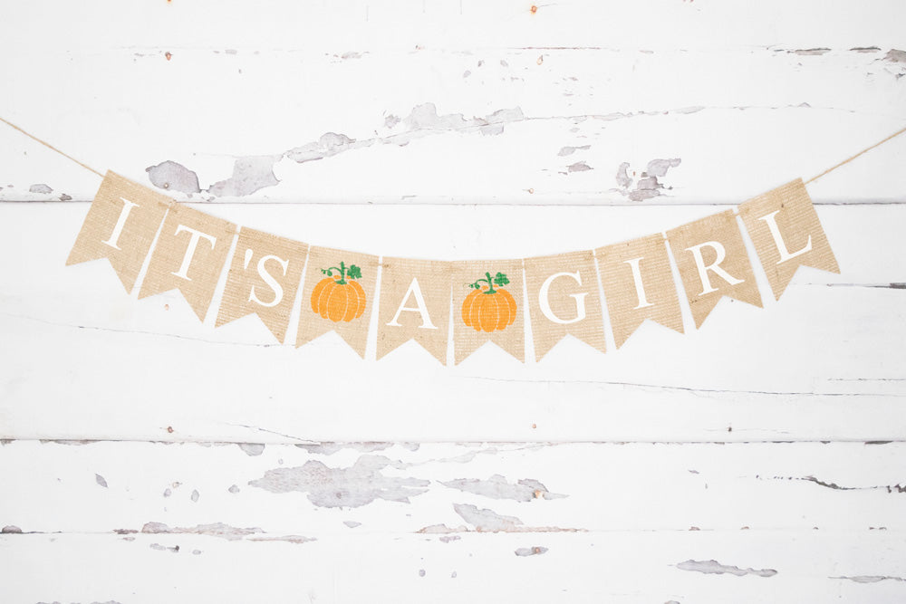 Pumpkin Baby Shower Decor, It's A Girl Banner