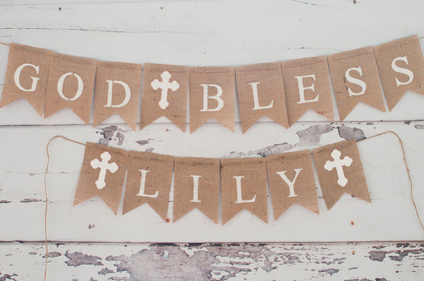 White Cross God Bless Personalized Banner | Baptism or Christening Party Decor
