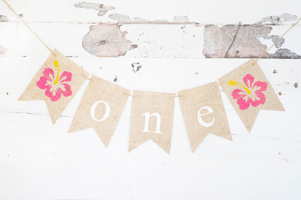 Hibiscus One Banner | Tropical Hawaiian First Birthday Party Decorations