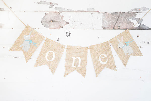Blue Ribbon Bunny One Banner | Easter First Birthday Party Decor