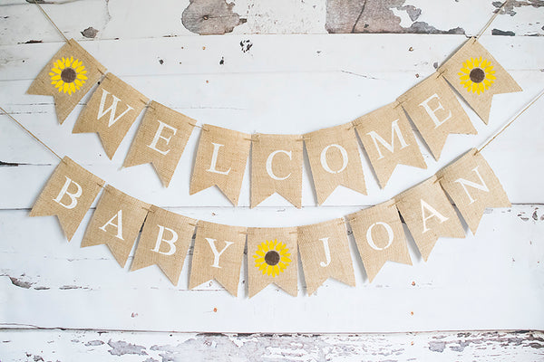 Sunflower Welcome Baby Personalized Banner | Floral Baby Shower or Gender Reveal Party Decor