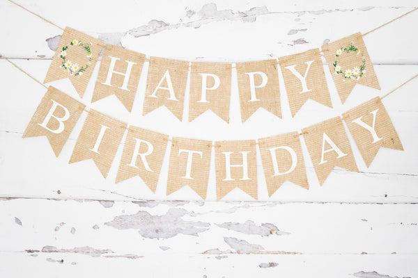Birthday Decor, Floral Wreath Happy Birthday Banner