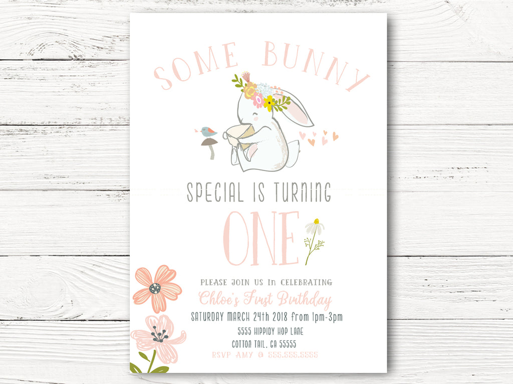 1st Birthday Invitations Some Bunny Special Is One Swanky Party Box