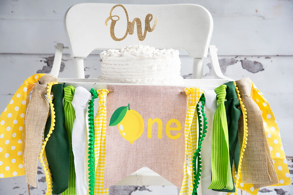 Lemonade First Birthday Party Highchair Banner