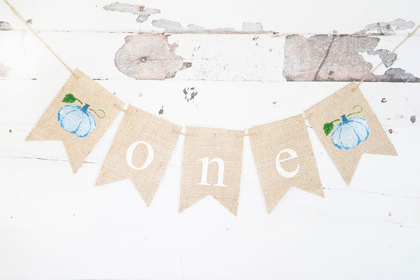 Blue Pumpkin One Banner | Fall First Birthday Party Decor