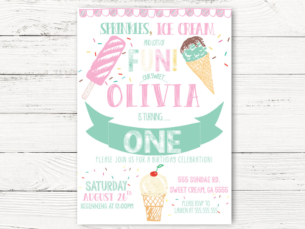 1st Birthday Invitations, Ice Cream White Invitations