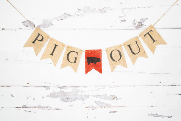Pig Out Banner for Summer BBQ Party Decoration