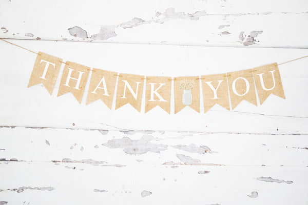 Wedding Decor, Floral Mason Jar Thank You Banner