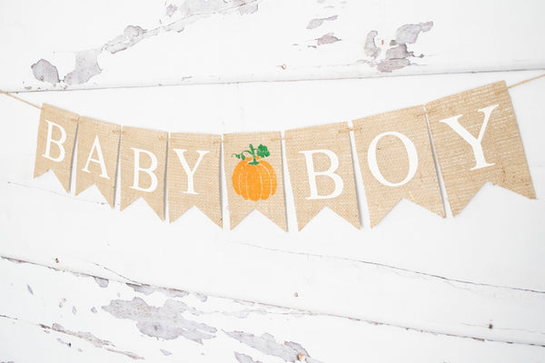 Baby Shower Pumpkin Decor, Baby Boy Banner