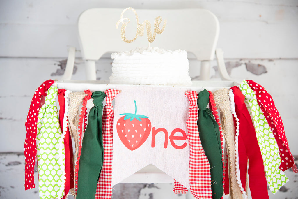 Strawberry First Birthday Party Highchair Banner