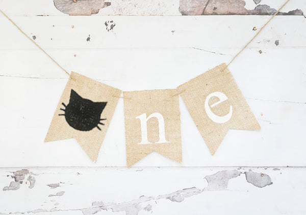 Cat One Banner | Kitten First Birthday Party Decor