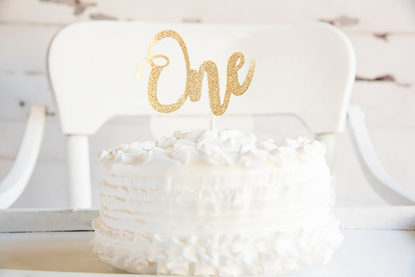 One Cake Topper | First Birthday Cake Topper | Gold Glitter One Cake Topper