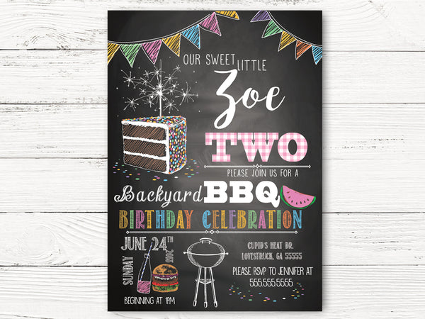 Birthday Invitations, Girl Backyard BBQ 2nd Birthday Invitations