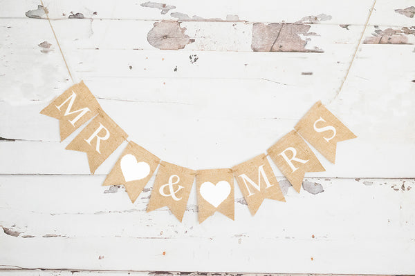 White Heart Mr & Mrs Banner | Wedding Decor