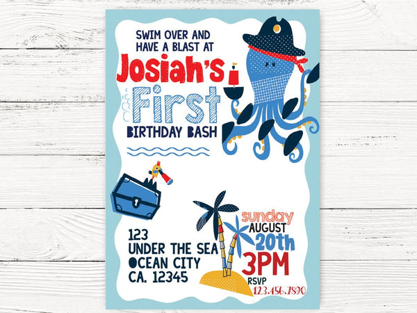 Digital Under the Sea 1st Birthday, Nautical Party, Baby Boy Octopus Invite, First Birthday Invitation , C137