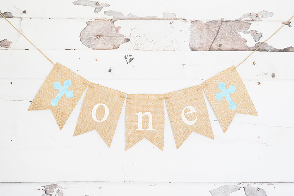 Blue Cross One Banner | First Birthday Party or Baptism Decoration