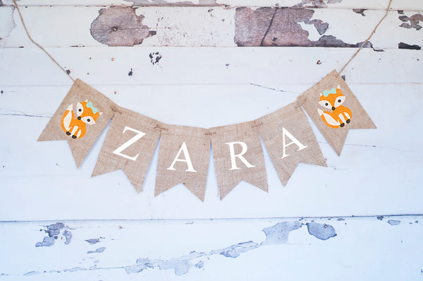Personalized Girl Fox Banner | Woodland Birthday Party Decorations