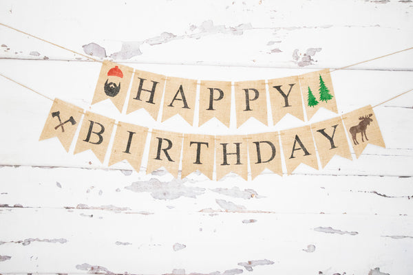 Lumberjack Decor, Happy Birthday Banner