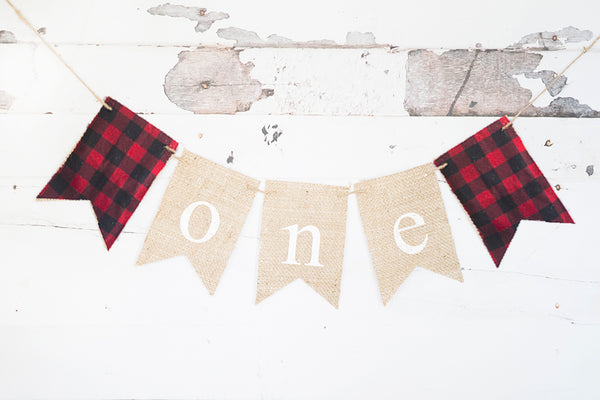 Plaid One Banner | Lumberjack First Birthday Party Decorations