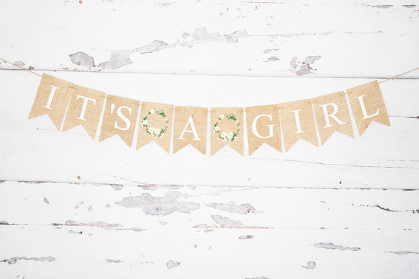 Baby Shower Decor, It's A Girl Floral Wreath Banner