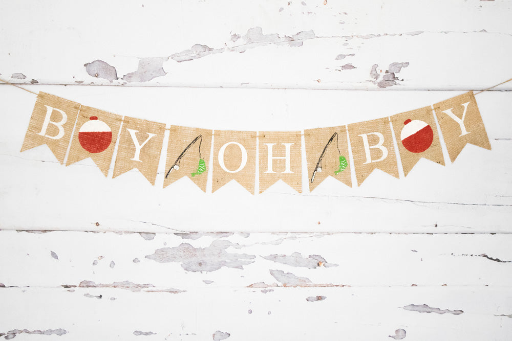 Boy Oh Boy Fishing Banner Baby Shower Or Gender Reveal Decorations Swanky Party Box