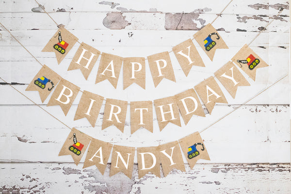 Construction Personalized Happy Birthday Banner | Birthday Party Decor