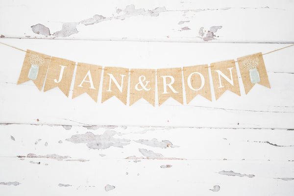Wedding Decor, Personalized Mason Jar Banner
