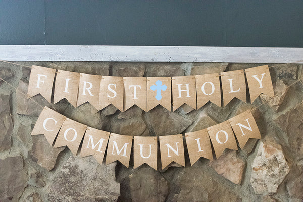 Blue Cross First Holy Communion Banner | Religious Party Decor