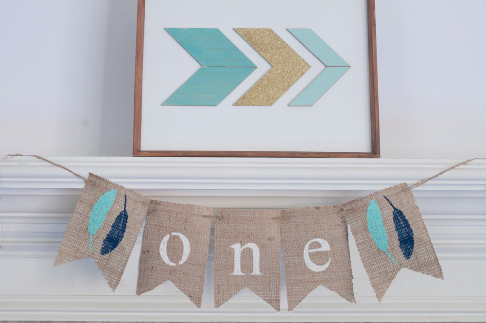 Feathers One Banner | Tribal First Birthday Party Decor