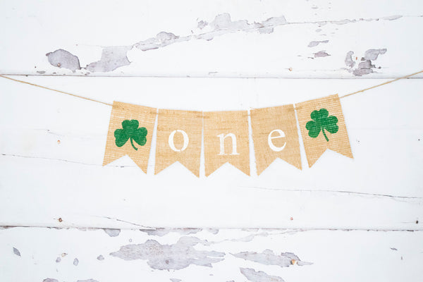 Shamrock One Banner for St. Patrick's Day 1st Birthday Party Decoration