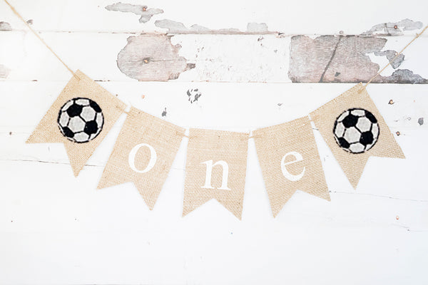 Soccer One Banner | Sports First Birthday Party Decor